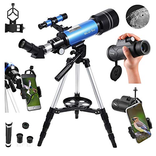 MaxUSee 70mm Refractor Telescope with Adjustable Tripod for Kids Adults & Beginners + Portable 10X42 HD Monocular Bak4 Prism FMC Lens, Travel Telescope with Backpack and Phone Adapter