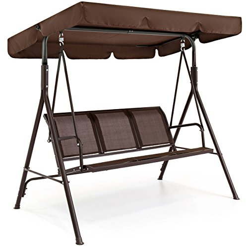 Best Choice Products 3-Seater Outdoor Steel Polyester Adjustable Canopy Swing Chair Bench w/Weather-Resistant Powder Finish, Brown