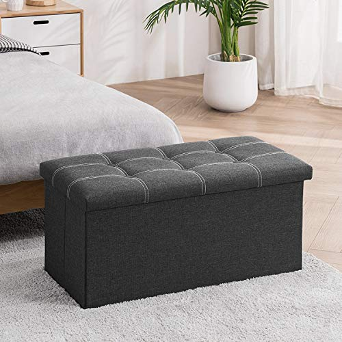 APICIZON 30 inches Folding Storage Ottoman Bench, Padded Footrest Bench with 80L Storage Space, End of Bed Bench, Holds up to 350 Lbs, Linen Fabric Grey
