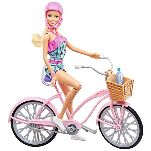 Barbie FTV96 – Doll with Bicycle and Accessories, Dolls and Doll Accessories from 3 Years