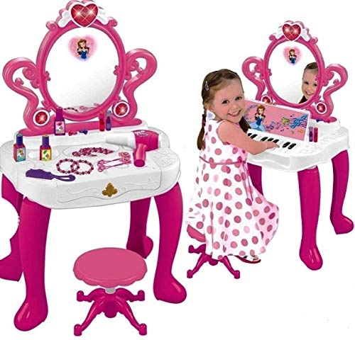 WolVolk 2-in-1 Vanity Set Girls Toy Makeup Accessories with Working Piano & Flashing Lights, Big Mirror, Cosmetics, Working Hair Dryer - Glowing Princess will Appear when Pressing the Mirror-Button