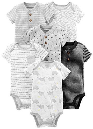 Simple Joys by Carter's Baby Boys' 6-Pack Short-Sleeve Bodysuit, Black/White, 3-6 Months