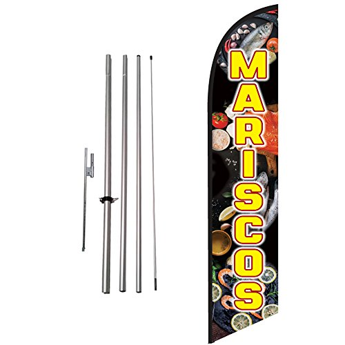 Mariscos Advertising Feather Banner Swooper Flag Sign with Flag Pole Kit and Ground Stake
