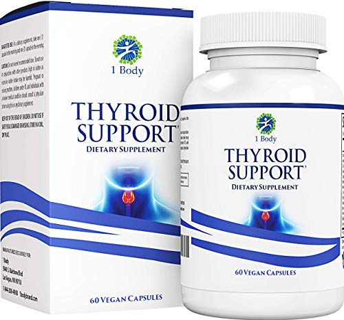 Thyroid Support Supplement with Iodine - Energy & Focus Formula - Vegetarian & Non-GMO - Vitamin B12 Complex, Zinc, Selenium, Ashwagandha, Copper, Coleus Forskohlii & More 30 Day Supply