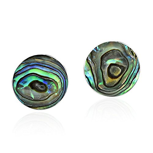 Green Abalone Shell Mystical Round .925 Sterling Silver Post Earrings