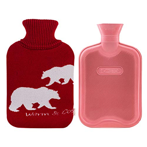 HomeTop Premium 2 Liter Classic Rubber Hot Water Bottle w/Elegant Polar Bear Knit Cover (2L, Wine/Light Red)