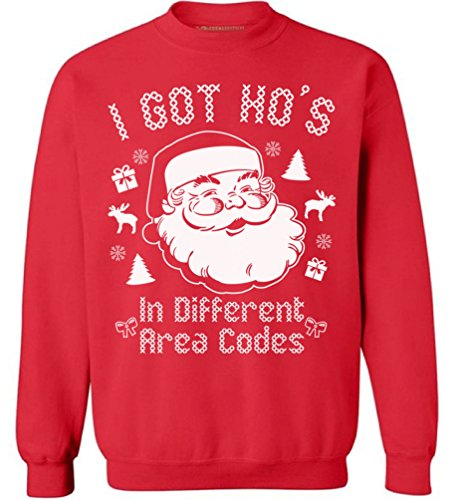 Awkwardstyles I Got Hos in Different Area Codes Sweater Ugly Christmas Crewneck S Red