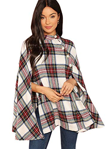 MAKEMECHIC Women's Button Front Cloak Sleeve Elegant Cape Mock Poncho Classy Plaid Print Cape Coat Multicolor A S