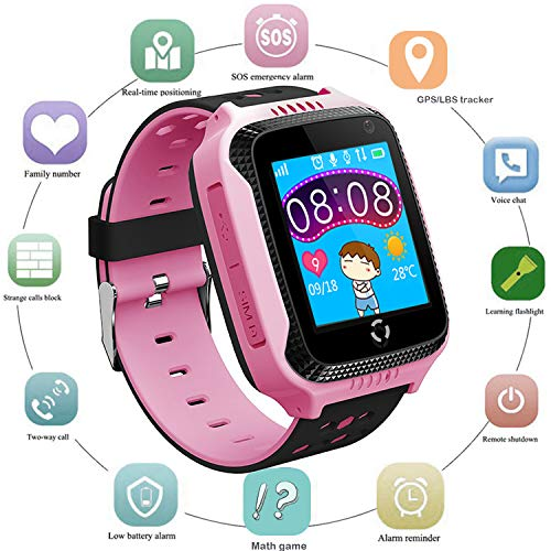 Kids GPS Smart Watch for Students - Boys Girls Smartwatch Phone with GPS Locator 2 Way Calls SOS Camera Voice Chat Math Game Step Counter Geo Fence Sport Wristband for Children Holiday Birthday Gifts