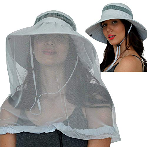 GearTOP Safari Hat with Mosquito Net and UPF 50+ Sun Protection (Light Grey)