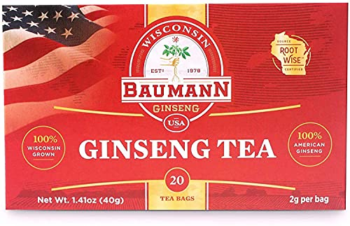 Baumann Premium American Ginseng Tea Bags, Authentic Panax Pure Ginseng Roots, Strength, Grown in Wisconsin, U.S.A 20 Bags