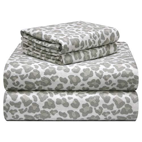 Pointehaven 180 GSM Velvet Feel Luxury Cotton Printed Flannel Sheet Set, Queen, Leopard