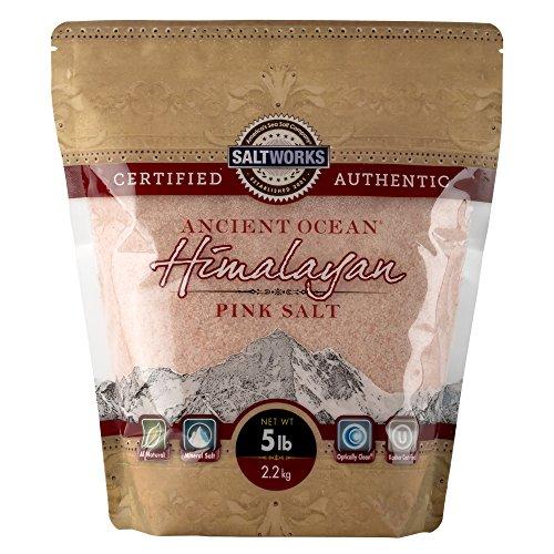 SaltWorks Ancient Ocean Himalayan Pink Salt, Fine Grain, 5 Pound Bulk Bag