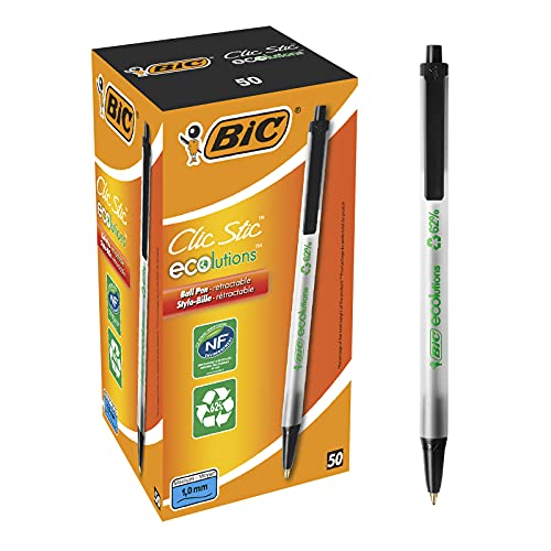 BIC Ecolutions Round Stic Ballpoint Pen, Medium Point (1.0mm), Black, 50-Count, For a Smooth Writing Experience