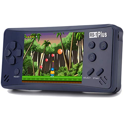 Haopapa Retro Plus Handheld Game Console Portable Video Games Player Built-in 218 Classic Games 3.5 Inch LCD Big Screen Li-ion USB Charge TV Output Arcade Gaming System Gifts for Kids Adults -Blue