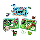 Melissa & Doug Peg Puzzles Set, Farm Animals, Pets, Ocean (Developmental Toy, Easy to Grasp, 3 Peg Puzzles, 6 Pieces in Each, Great Gift for Girls and Boys - Best for 2, 3, and 4 Year Olds)