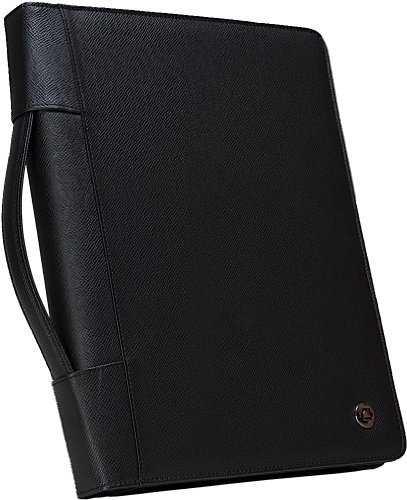 Case-it Executive Zippered Padfolio with Removable 3-Ring Binder and Letter Size Writing Pad, Black