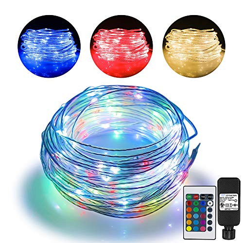 Omika 66ft Led Rope Lights Outdoor String Lights with 200 LEDs,16 Colors Changing Waterproof Starry Fairy Lights Plug in for Bedroom,Indoor,Patio,Home Decor
