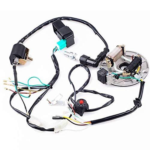 Annpee Kick Start Dirt Pit Bike Wire Harness Wiring Loom CDI Ignition Coil Magneto Spark Plug Rebuild Kit for 50cc -125cc Stator CDI Coil ATV Quad Bike Buggy Go Kart