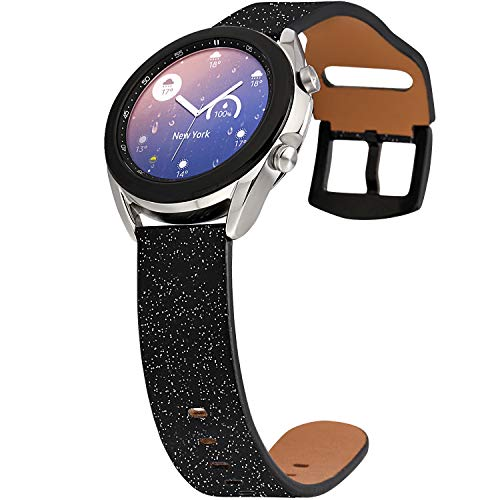 Greaciary Glitter Band Compatible for Samsung Galaxy Watch 3 41mm Samsung Galaxy Active2 Galaxy Active 20mm Sparkle Stylish Leather Quick Release Replacement Strap Women Men Galaxy Watch 42mm BL