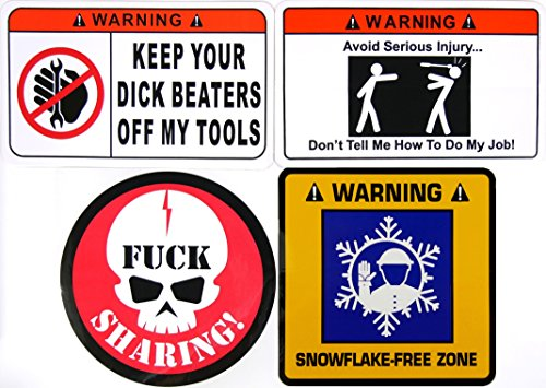 STICKER 4 PACK (1) Keep Your Dick Beaters Off My Tools (1) Don't Tell Me How To Do My Job (1) Fuck Sharing Skull (1) Snowflake Free Zone 4 Pack by STKR Commander Toolbox Hardhat Bumper Stickers/Decals