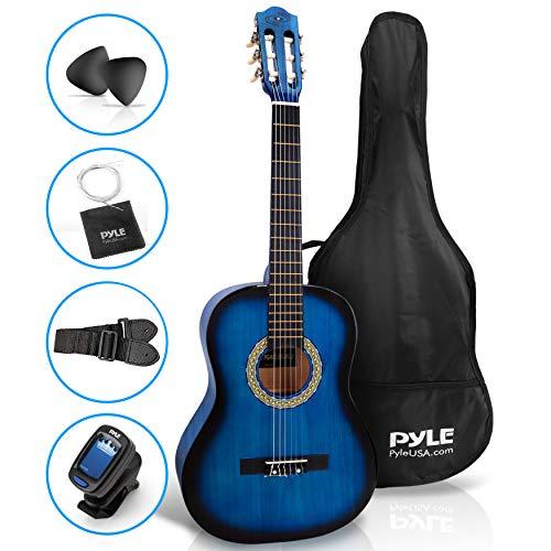 "Beginner 36"" Classical Acoustic Guitar - 3/4 Junior Size 6 String Linden Wood Guitar w/ Gig Bag, Tuner, Nylon Strings, Picks, Strap, For Beginners, Adults - Pyle PGACLS82BLU (Blue Burst)"