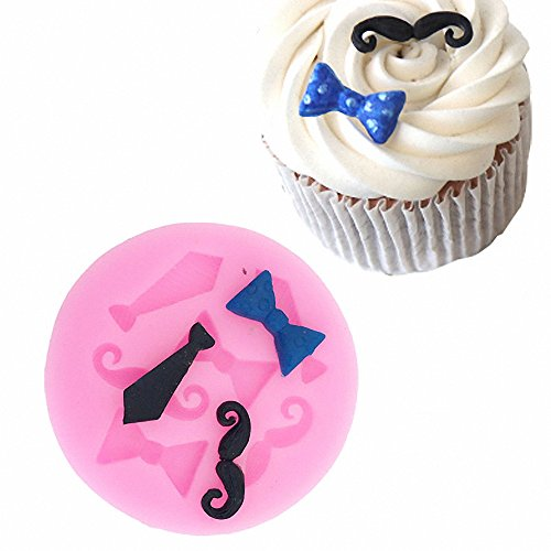 MoldFun Tiny Size Bow Tie Necktie Mustache Silicone Mold for Fondant Sugar Craft Mould Chocolate Candy Craft Cake Topper Decorating (Pink/White)