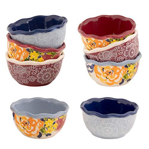Gibson (8 Piece) Laurie Gates Dishes 4 Inch Porcelain Fruit Bowl Set Serving Bowls Salad Bowl Mixing Bowls