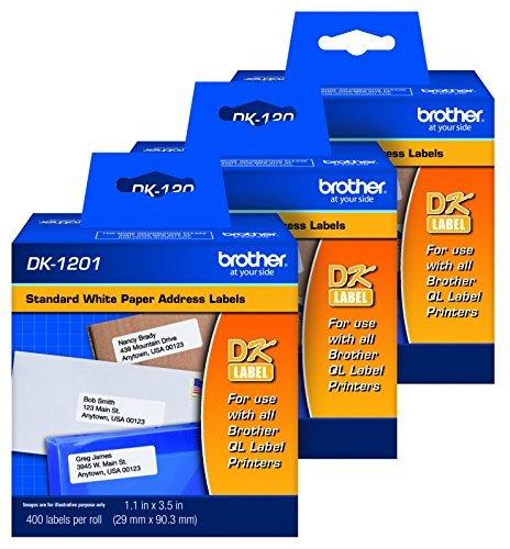 Brother Genuine DK1201 Die-Cut Standard Rolled Address Labels for QL Printers, 3-Pack (DK12013PK),White