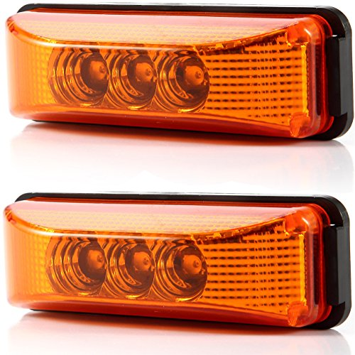 2pcs 3.9 inches 3 Leds Truck Trailer 12V Led Front Rear Led Side Marker Lights Indicator Lamp Rock Light for Truck Trailer Boats,Sealed and Waterproof, Surface Mounted Installation, 2 Amber