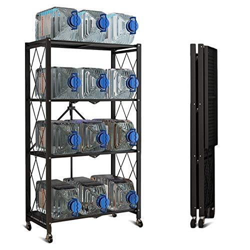 Storage Shelves, 4-Shelf Foldable Metal Shelving Units 28' W x 14' D x 50' H for Garage Kitchen Bakers Closet, Metal Wire, Collapsible Organizer Rack, Heavy Duty on Wheels (4 -Shelf)