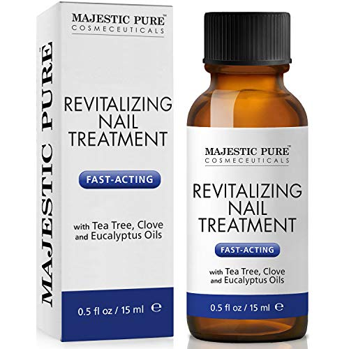 MAJESTIC PURE Extra Strength Natural Nail Treatment - Fights Toenail with Tea Tree, Clove, and Eucalyptus Oils - Natural Remedy for Damaged Toe Nails and Foot Health - 0.5 fl oz