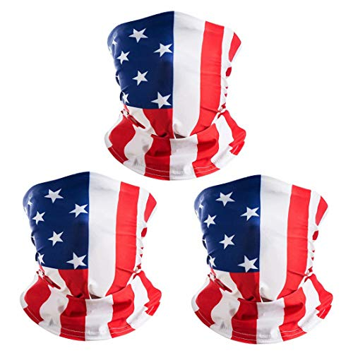 3 Pack American US Flag Face Bandana, Sun UV Dust Protection Reusable Washable Half Mask Scarf Headwear Neck Gaiter, Fishing Hiking Cycling Running Cloth Balaclava for Men Women-C