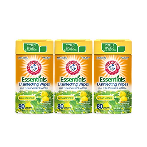 Arm & Hammer Essentials Disinfecting Wipes, Lemon Orchard Scent, 3 Pack, 80 Count, 240 Wipes