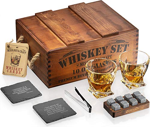 Whiskey Stones Gift Set for Men | Whiskey Glass and Stones Set with Rustic Wooden Crate, 8 Granite Whiskey Rocks Chilling Stones, 10oz Whiskey Glasses | Whiskey Gift For Men, Dad, Husband, Boyfriend