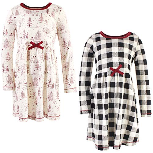 Touched by Nature Girls' Baby/Toddler Organic Cotton Short Dresses, Winter Woodland Long Sleeve, 0-3 Months