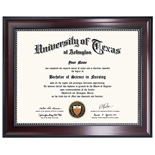 GraduationMall 8.5x11 Diploma Frame, Real Glass, Professional Wooden Look, Mahogany with Gold Beaded