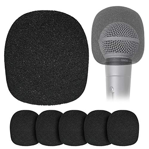 Windscreen Foam Cover for Ball-Type Microphone - 6 Pack Mic Foam Pop Filter for Handheld Mics to Reduce Plosive Wind Noises by YOUSHARES