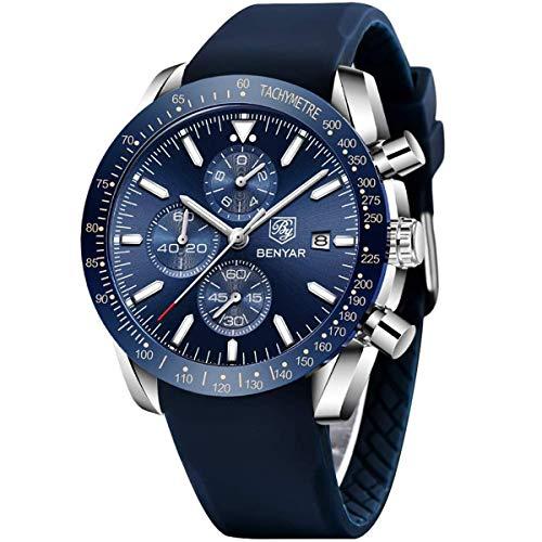 BENYAR Chronograph Mens Watch Quartz Movement 30M Waterproof | Leather Watch Strap | Chronograph |Analogue Watch| Business Watch| Scratch Resistant Watch| Mechanical Watch