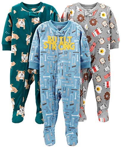 Simple Joys by Carter's Baby 3-Pack Loose Fit Flame Resistant Fleece Footed Pajamas, Bulldogs/Breakfast/Tools, 12 Months