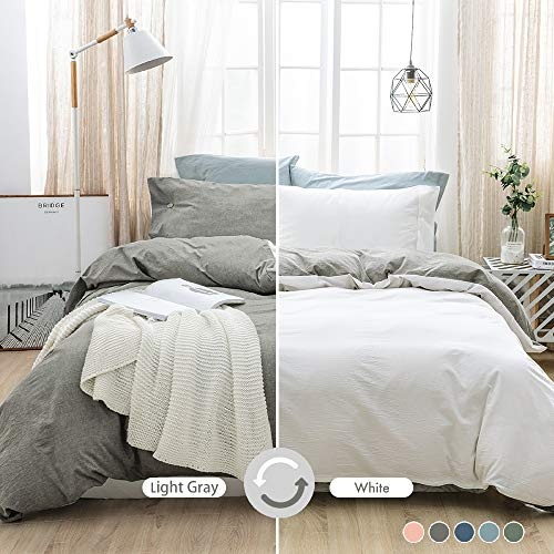 MILDLY 100% Washed Cotton Soft Duvet Cover Set Queen, Reversible White and Light Gray Solid Color Ruffle Seersucker Casual Design Includes 2 Pillow Cases and 1 Duvet Cover with Zipper & Corner Ties