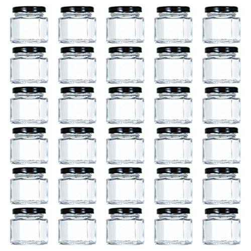 Tebery 1.5oz Mini Hexagon Glass Jars with Black Plastisol Lined Lids and Labels (Pack of 30)