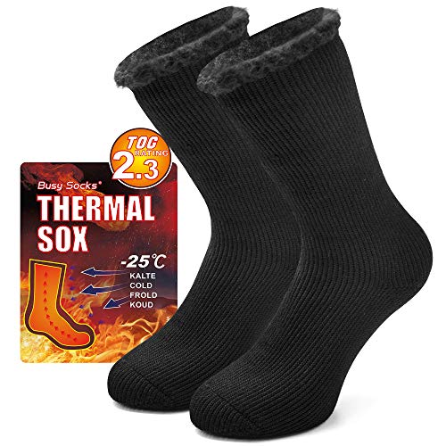 Womens Warm Thermal Boot Socks, Busy Socks Mens Hot Feet Ultra Thicker Insulated Heated Extreme Cold Hunting Slipper Indoors Floor Fleece Cozy Sleeping Socks 1 Pair Black