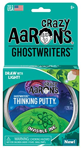 "Crazy Aaron's Thinking Putty 4' Tin – GHOSTWRITERS ""Invisible Ink"" - Write on Putty with UV Glowcharger – Never Dries Out"