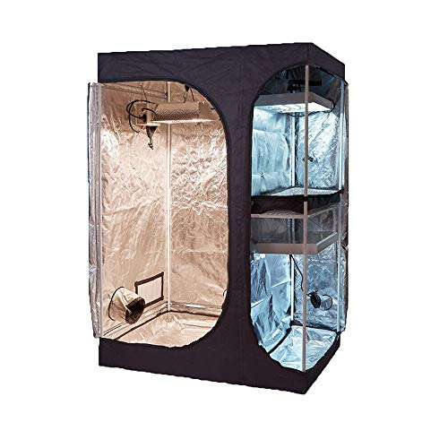 TopoGrow 2-in-1 Indoor Grow Tent 36'X24'X53' 600D High-Reflective W/2-Tiered for Lodge Propagation and Flower Plant Growing