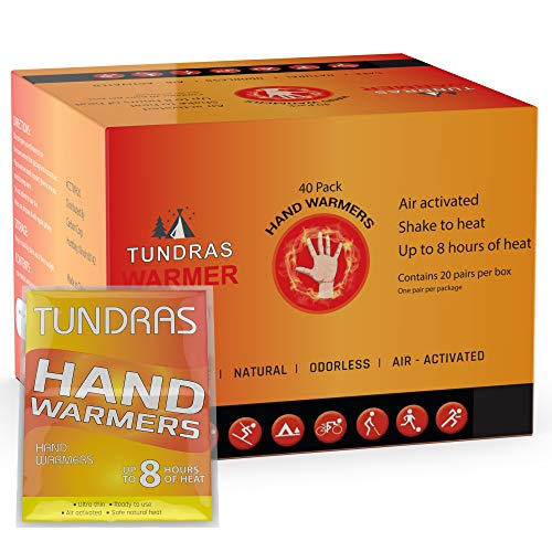 Tundras Hot Hand Warmers Natural Odorless - 40 Count - Long Lasting Safe Single Use Air Activated Heat Packs for Hands, Toes and Body - Up to 8 Hours of Heat - TSA Approved