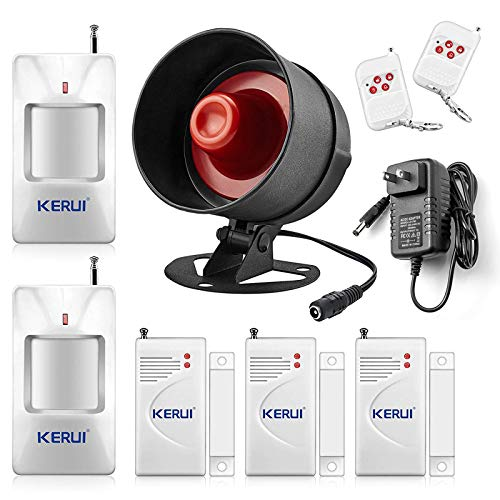 KERUI 2020 Upgraded Standalone Home Office Shop Security Alarm System Kit,Wireless Loud Indoor/Outdoor Weatherproof Siren Horn with Remote Control and Door Contact Sensor,Motion Sensor,Up to 115db