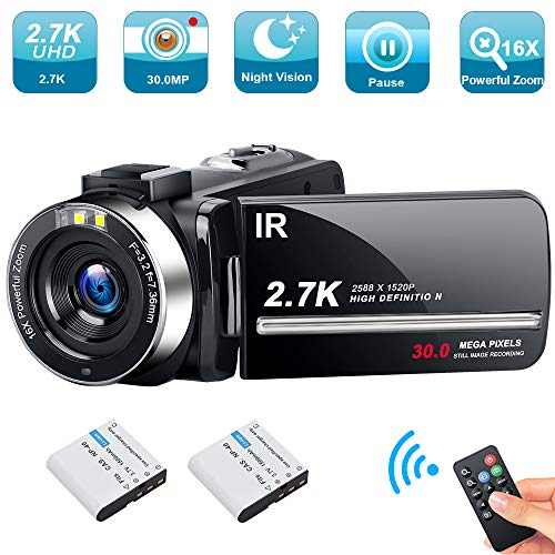 Video Camera Camcorder Weton 2.7K Ultra HD Digital YouTube Vlogging Camera 30MP IR Night Vision Digital Recorder 3.0 Inch 270 Degree Rotation Screen 16X Digital Zoom Camcorders with 2 Batteries