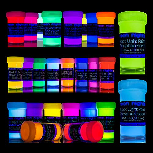neon nights 'Glow Crafts XXL Set' 26 Cans of Paint | Glow in The Dark + UV Black Light + Invisible Fluorescent Paints | Luminescent, Phosphorescent, Self-Luminous | for Premium Art and Wall Paintings