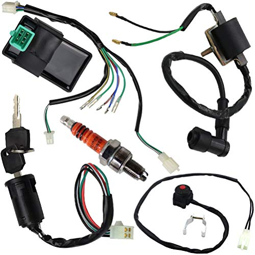 Wire Harness Wiring Loom CDI Ignition Coil Spark Plug Kill Switch Rebuild Kit for 125CC 110CC 90CC 70CC 50CC Kick Start Dirt Pit Bike ATV Quad Bike Go Kart by TOPEMAI